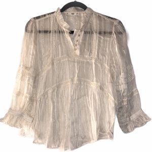 MNG / MANGO White and Gold Blouse